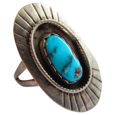 Fantastic STERLING Silver TURQUOISE inset shadow box large Native American ring