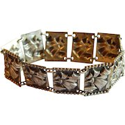 Great STERLING Silver Art Deco floral ribbon repousse rectangular wide bracelet