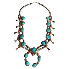 Incredible SQUASH Blossom STERLING SILVER Turquoise Coral Naja large Native American necklace