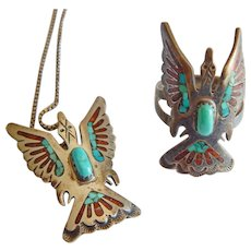 Native American Sterling SILVER Turquoise THUNDERBIRD Coral stone Necklace ring pendant set