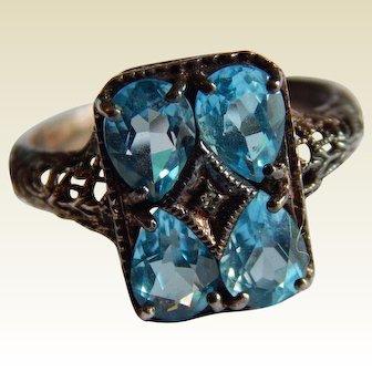 Pretty STERLING SILVER Topaz Diamond chip ornate filigree silver ring size 9