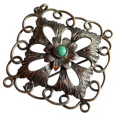Great Turquoise STERLING SILVER French Scrolling floral pendant brooch pin trombone clasp