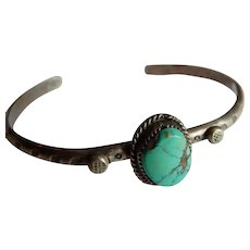 Neat STERLING Silver Turquoise stone signed cuff sun ray Native American bracelet