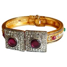 Extravagant Jewels of India Pave rhinestone simulated stone cuff clamper bracelet