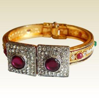 Extravagant Jewels of India Pave rhinestone simulated stone cuff clamper bracelet