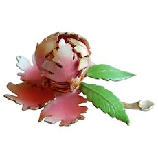 Day Night WARNER Signed Open Close Mechanical enameled pink flower pin brooch