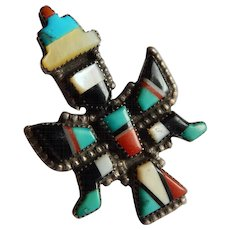 Brilliant ZUNI Inlay Stone STERLING Silver Son GOD Kachina Thunderbird Native American Ring Turquoise Coral Onyx Pearl