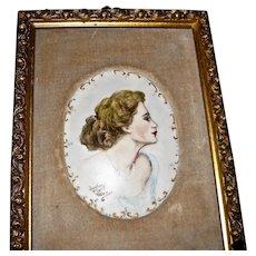 Framed Painted Porcelain Oval Plaque