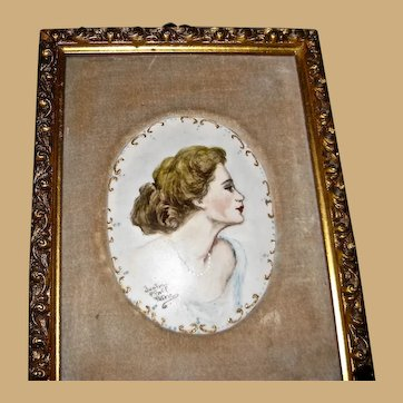 Framed Painted Porcelain Oval Plaque