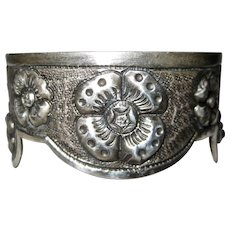 Mexican Sterling Silver Cuff Bracelet Floral