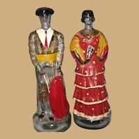 Lg. Mexican Painted Matador and Señorita Blackberry Brandy Bottles