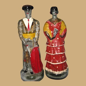 Lg. Mexican Painted Matador and Señorita Blackberry Brandy Bottles