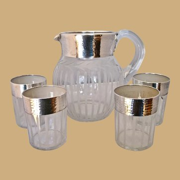 Silver Overlay Pitcher with 4 Glasses Set of 5