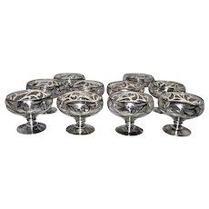 Silver Overlay Set of 10 Stemmed Dessert Sherbet Glasses