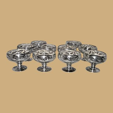 Silver Overlay Set of 10 Stemmed Dessert Sherbet Glasses