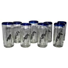 Crow Double Shot Glasses Set of 8 Mexican Blown Glass
