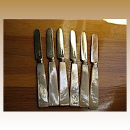 1836 Joseph Willmore Sterling Bladed MOP Butter Knives-Set of 6