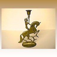 Art Deco Cast Iron Nude on Horse Candlestick