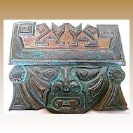 Copper Repousse Aztec God Tlaloc