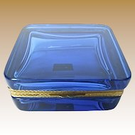 Murano Blue Crystal Hinged Box with Gilt Mounts