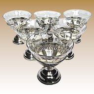 Set of 6 Pierced Sterling Sherbets with Etched Glass Liner Cups
