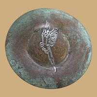 Arts and Crafts Sterling on Bronze Overlay Plate Macaw Design