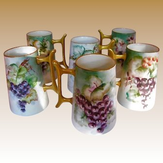 Set of 6 Hand Painted Tankards 1915