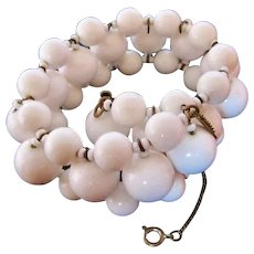 Miriam Haskell White Milk Glass Bracelet