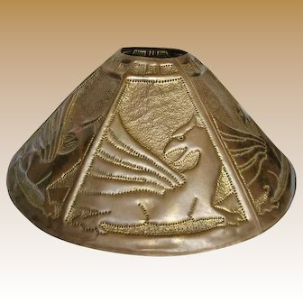 Lg. Pierced Brass Arts and Crafts Lampshade