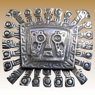 Sterling Jaguar God Pin and Pendant
