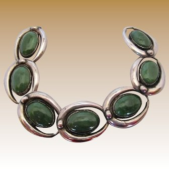 Early Mexican Silver and Green Onyx Bracelet
