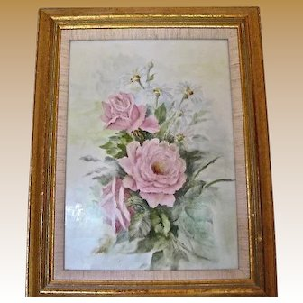 Hand Painted Porcelain Framed Plaque Roses and Daisies