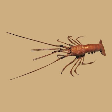 Articulated Copper Lobster Japanese Jizai Okimono