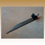 Vintage Ruler/Letter Opener Cast Iron Scottie