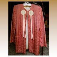 Coral and Ivory Colored Quilted Bed/Lounge Jacket - 1940's