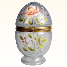 Glass Casket Egg Shape Hand Painted Enamel Decor ca. 1900