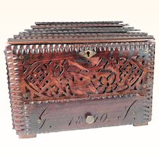 Wooden Jewelry Casket Dated 1890 Open Work Dog Horses Birds