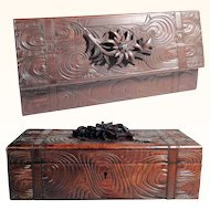 Large Jewelry Casket Hand Carved Edelweiss Flower