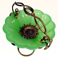 19C French Green Opaline and Bronze Mounts Ring Tray