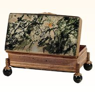Exquisite Moss Agate Box with Bronze Mounts