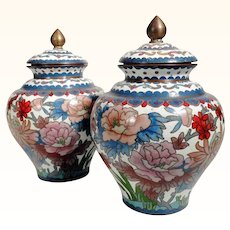 Pair of  Beautiful Vases Chinese Cloisonne