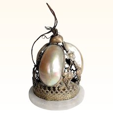 19C Decorative French Table Bell Mother of Pearl - Function Less