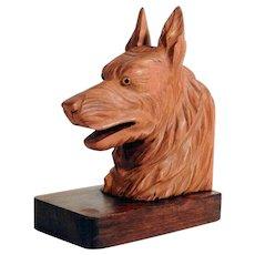 Beautiful Hand Carved German Shepherd Dog Head