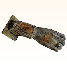 Amazing Bronze Door Knocker Hand Shape ca. 1900
