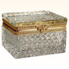 Delightful  Diamond Cut Crystal Jewelry Casket  Box