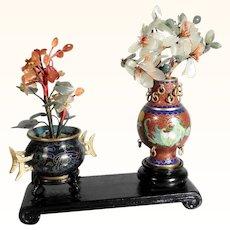Miniature Chinese Cloisonne Vases Precious Jade & Carnelian Plants