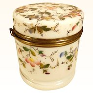 19C French White Opaline Casket Hand Painted