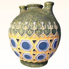 Stunning Pottery Vase Geometrical Shape & Three Mouths ca. 1920