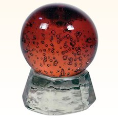 Heavy Murano Glass Paperweight with Pedestal ca. 1950
