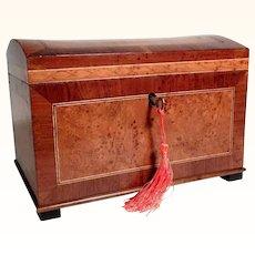 19C Beautiful Domed Casket Box Maple Veneer